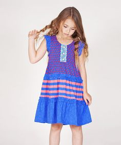 This Blue & Red Stripe Angel-Sleeve Dress - Infant, Toddler & Girls by Jelly the Pug is perfect! #zulilyfinds