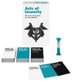 Acts of Insanity The crazy party game for crazy people! The raunchy party game where you act out adult scenarios for your team to guess. The opposing team reviews 5 of each game card type and assigns you a Character Card, Action Card, and Location or Object Card. You then have two minutes to act it out for your team. Game Includes: 108 Character Cards, 108 Action Cards, 108 Location or Object Cards, a 2-Minute Timer, and Game Instructions…