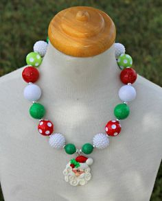 Santa Chunky Bubble Gum Bead Necklace Ready to by mothergoose17, $24.00