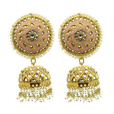 Pair of beautiful hand crafted Kundan stone jhumki earrings. Gold base filled with Kundan stones, baby pink painted detailing and dangling pearl work. Drop: 7 cm approx (lightweight) Also available in different colours. Jhumki Earrings, Dangle Earrings, Crochet Earrings, Beautiful Hands, Pink And Gold, Pakistani, Different Colors, Dangles, Colours