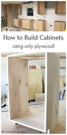Custon kitchen cabinets don't have to cost a fortune.if you build them yourself. I'll show you how to build DIY kitchen cabinets with this easy tutorial. Building Kitchen Cabinets, Built In Cabinets, Diy Kitchen Cabinets, Homemade Cabinets, Woodworking Kitchen Cabinets, Used Cabinets, Plywood Cabinets, Shop Cabinets, Kitchen Tops