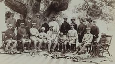Raja Deen Dayal was a legendary Indian photographer. In he was appointed court photographer to the royal family of Hyderabad. In this picture taken in the King of Hyderabad Nizam Mahbub Ali Khan and his party pose with tiger skins. Colonial India, British Colonial, Ram Mohan Roy, Hyderabad State, Duleep Singh, Safari, Fancy Dress Ball, Tiger Skin, Royal Ontario Museum