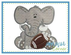 INSTANT DOWNLOAD Elephant Baby Boy Football applique digital design for embroidery machine by Applique Corner
