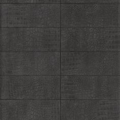 Sample Crocodile Leather Wallpaper in Dark Anthracite by BD Wall