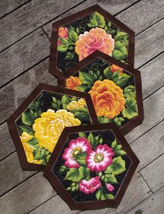 Free Quilted Placemat Patterns   hexagon patterns  free patterns  patchwork tips  placemats  kiwiquilts