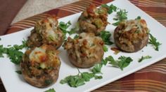 Dress up ordinary button mushrooms with this tasty appetizer idea — a clever way to use up that leftover Thanksgiving stuffing or dressing. Thanksgiving Stuffing, Thanksgiving Leftovers, Stuffed Mushroom Caps, Stuffed Mushrooms, Romanian Food, Romanian Recipes, Mushroom Recipes, Yummy Appetizers, Recipe Cards