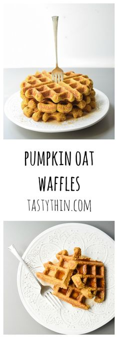 Pumpkin Oat Waffles - these gluten free, tasty waffles can be made ahead and frozen for a quick breakfast the whole family will love! | tastythin.com