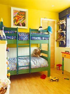 33 Wonderful Shared Kids Room Ideas: Vibrant Yellow Shared Kids Bedroom – Goyovo