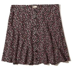 Hollister Button-Front Skater Skirt ($20) ❤ liked on Polyvore featuring skirts, hollister, black floral, flared skirt, floral printed skirt, floral circle skirt, flower print skirt and button front skirt