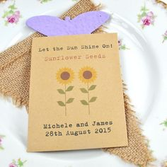 Recycled Sunflower seeds wedding favour, £1.25.