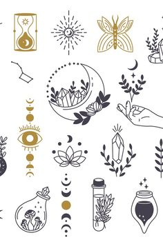 Witch Symbols, Magic Symbols, Occult Symbols, Symbolic Tattoos, Mystical Tattoos, Symbolic Art, Small Tattoos, Boho Tattoos, Body Art Tattoos