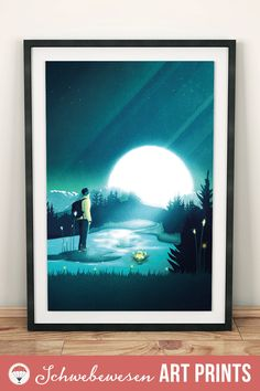 Hiking Poster Mountain Art Print Enchanted Landscape Dreamy Landscape Moon Wall Art Magic Home Decor Hiker Gifts Wanderlust Picture Blue Art