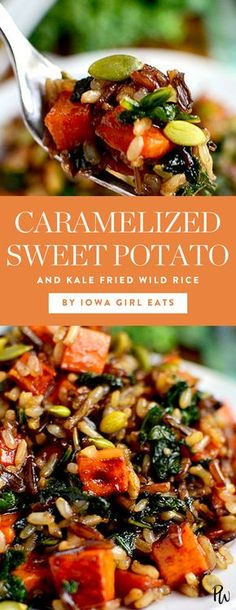50 Sweet Potato Recipes to Make All Winter Long. Caramelized Sweet Potato and Kale Fried Wild Rice. Part salad, part stir-fry, all delicious. #kale #sweetpotato #wildrice #rice #dinnerideas #healthyrecipes #healthydinners #dinnerideas #sweetpotatorecipes #easyrecipes #winter #winterrecipes