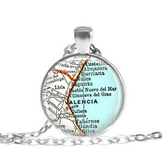 Valencia necklace pendant charm: Spain map by LocationInspirations