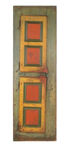 """Pennsylvania painted pine chimney cupboard, retaining an old red, yellow, and blue surface, 90"""" h., 28 1/4"""" w. I Love the doors how they hang crooked!!"""