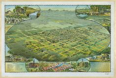 c.1890s Bird's Eye View Aerial view of by InterestingPhotos, $7.75