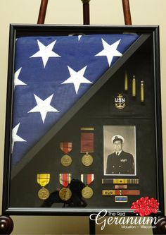 Military shadowbox with photo, flag, medals, and other memorabilia. | The Red Geranium Framing and Gifts in Mauston, WI