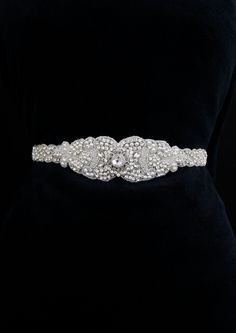 Beaded, belt, bridal sash, couture, crystal sash, custom, designer, glam, pearl, rhinestone, sash, silver, swarovski crystal, vintage, wedding, , sparkly, romantic , modern , glamorous , classic, elegant, belts and sashes, accessories, bow