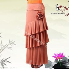 SHARON TANG Modest Apparel Long Brown Stretch Knit Layers Flowers Maxi Skirt