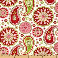 Michael Miller Gypsy Bandana Rose Gypsy Paisley White from @fabricdotcom  Designed by Pillow and Maxfield for Michael Miller Fabrics, colors include red, lime,  pink and white. Use for quilting and craft projects.