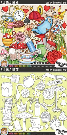 Cute Alice in Wonderland clip art for teachers! Contains coloured clipart and black and white outlines at 300 dpi for highest quality printing for your resources and projects! | Hand-drawn clip art by Kate Hadfield Designs at Teachers Pay Teachers