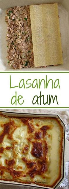 Want to prepare a different meal of tuna? This tuna lasagna recipe is quite tasty, is drizzled with whipping cream and béchamel and goes to the oven sprinkled with grated cheese on top, a delight… Tuna Recipes, Pasta Recipes, Cooking Recipes, Healthy Recipes, Food C, Good Food, Meat Lasagna, Portuguese Recipes, Fish Dishes