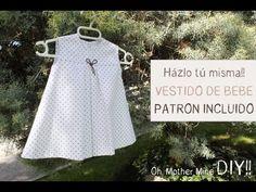 ▶ DIY Ropa bebé: Cómo hacer vestido de bebé niña muy fácil (patrón en varias tallas incluido) - YouTube