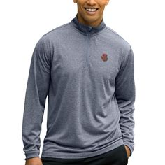 Cornell Big Red Mesh Tech 1/4-Zip Pullover Sweater - Charcoal