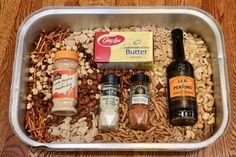 Celebrate the holidays by preparing our festive Nuts and Bolts Recipe. The popular holiday snack mix features seasoned cereals, nuts and pretzels. Snack Mix Recipes, Appetizer Recipes, Cooking Recipes, Appetizers, Appetizer Dishes, Crockpot Recipes, Christmas Party Snacks, Christmas Baking, Bunco Snacks