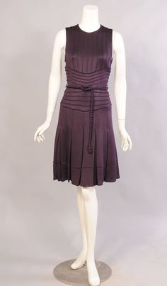 Chado Ralph Rucci Aubergine Pin Tucked Dress, Never Worn |SIZE AS MARKED:8 (US) BUST:34 in. (86 cm)--- WAIST:28 in. (71 cm)--- HIP:36 in. (91 cm)---- LENGTH:37 in. (94 cm)----