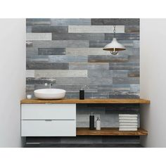 Stick On Wood Wall, Peel And Stick Wood, Blue Grey Walls, Blue Wood, Wood Planks For Walls, Bathroom With Wood Wall, Pallet Accent Wall, Floating Bathroom Vanities, Office Den
