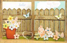 "Use your Hardwood Background stamp and Chevron Punch to make pointed ""fence boards"" for a cute spring card! by Patty Bennett www.pattystamps.com"