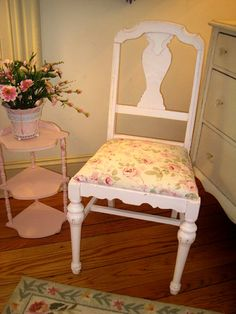 Shabby Chic Pink Green Chair   Vintage Shabby Chic Accent Pieces and Accessories - Forever Pink