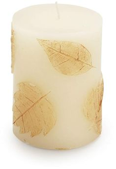 Illuminate your autumn décor with our pillar candles, featuring golden fall leaves. Each comes in in a gift-ready package with a gold ribbon. Available in two sizes. Candels, Pillar Candles, Coastal Fall, Black White Gold, Gold Ribbons, Fall Pumpkins, Gold Leaf, Autumn Leaves, Farmhouse Decor