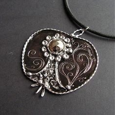 "Pyrite pendant, original design by ""elekeramika"" I got for my birthday :)"
