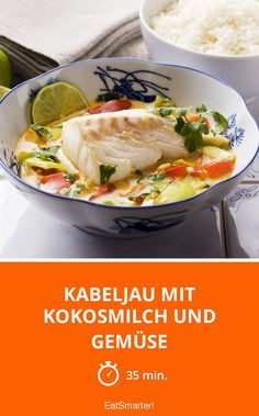 Cod with coconut milk and Kabeljau mit Kokosmilch und Gemüse Cod with coconut milk and vegetables – smarter – time: 35 min. Healthy Salmon Cakes, Healthy Salmon Recipes, Fish Recipes, Meat Recipes, Seafood Recipes, Healthy Food, Salmon Recipe Pan, Seared Salmon Recipes, Clean Eating Salmon