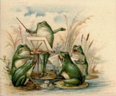 c.1920 - frogs - I had no idea they had such a love of music!