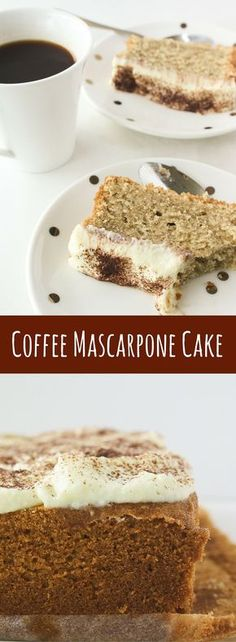 A tender cake infused with coffee, frosted with creamy mascarpone!