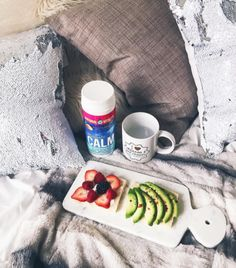 """""""Started out my morning with avocado & fruit toast and my cup of magnesium (good for stress relief) from 🍓🥑🍵 Calm Magnesium, Natural Calm, Magnesium Supplements, Stress Relief, Avocado, Toast, Healthy Recipes, Fruit, Tableware"""