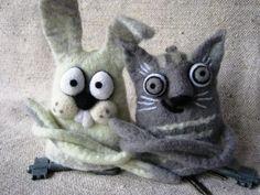 Изделия из войлока: Ключницы Кот и Заяц