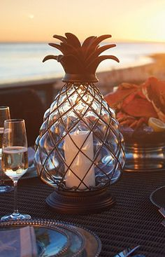 Pineapple Hurricane Lantern, reminds me of our wedding in Hawaii. I want!!!