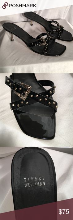 ❤️BUY ONE, GET ONE HALF OFF❤️clothes, shoes & jean Stuart Weitzman Black Patent Leather sandals with Silver studs & buckles. In Absolutely Gorgeous condition. Size 9 1/2 Stuart Weitzman Shoes
