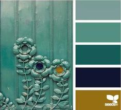 Green color combination, navy blue and green palette