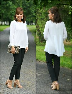 Sharing the perfect black pant and a Vince Camuto blouse.