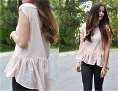 DIY Clothes Refashion: Women fashion: DIY Square loose ruffle top