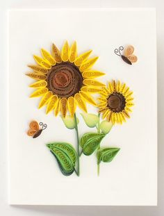 """Quilled sunflowers gift enclosure - 2.5"""" x 3.5"""""""