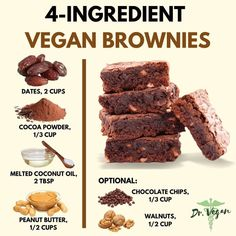 Always up for a different brownie recipe ! Vegan Dessert Recipes, Delicious Vegan Recipes, Vegan Sweets, Healthy Baking, Healthy Desserts, Yummy Food, Healthy Tips, Vegan Food, Tasty