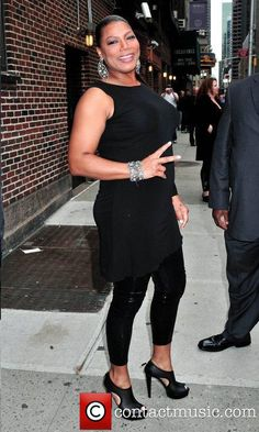 Queen Latifah, arriving for David Letterman show.