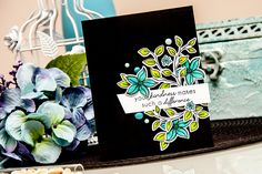 Yana Smakula | Altenew Your Kindness black and teal card #altenew #stamping #doodleblooms