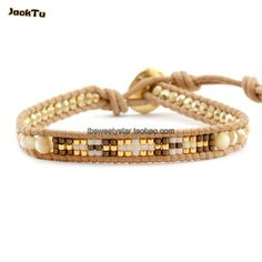 2017 fashion brown shell stone laser and seed beads handmde leather wrap bracelet